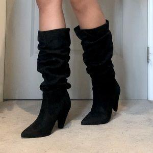 Suede black long boots  NWOT
